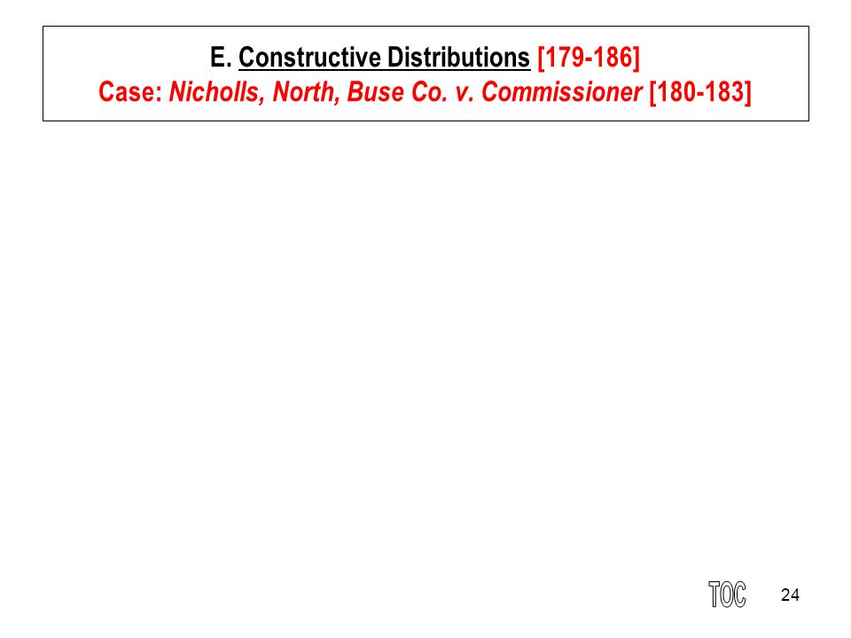 E. Constructive Distributions [179-186] Case: Nicholls, North, Buse Co